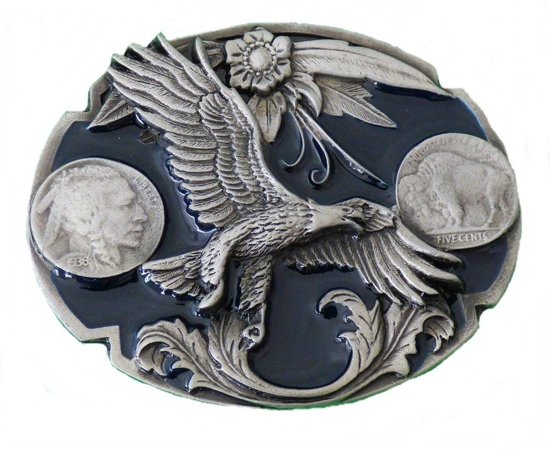 Buckle Gürtelschnalle Gürtelschließe Fliegender Adler 5 Cents Country Western