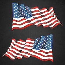 """2 - 6.5"""" x 12"""" American Flags Stickers Decals Veteran Military United States"""