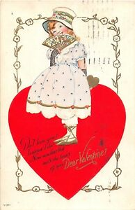 D36-Valentine-039-s-Day-Love-Holiday-Postcard-1924-Toledo-Ohio-v-211-Heart-Girl-5