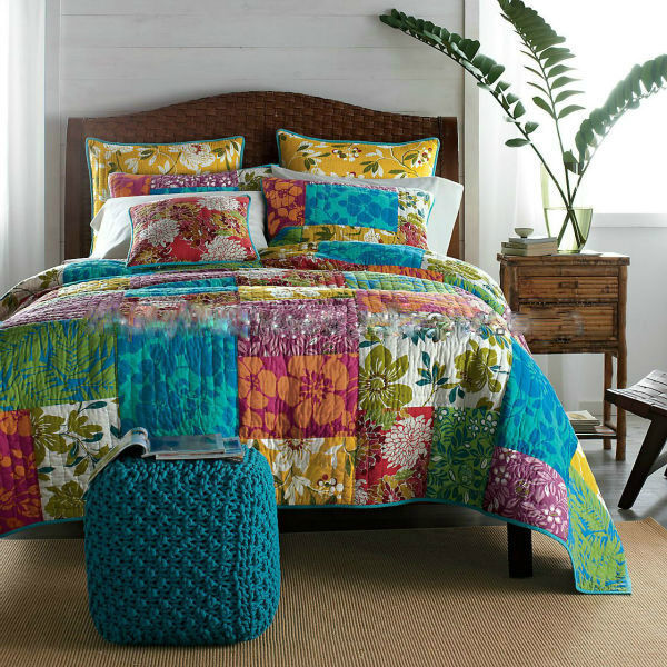 Tache 100% Cotton 3 Piece Colorful Flower Power Patchwork Bedspread Quilt Set