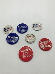 Vintage-Lot-Of-7-Reagan-Bush-80-84-Student-For-Reagan-Women-For-Reagan-Pins