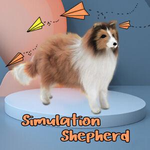 Realistic Simulation Shepherd Dog Toy Plush Furry Stuffed Puppy Animal Kids Gift