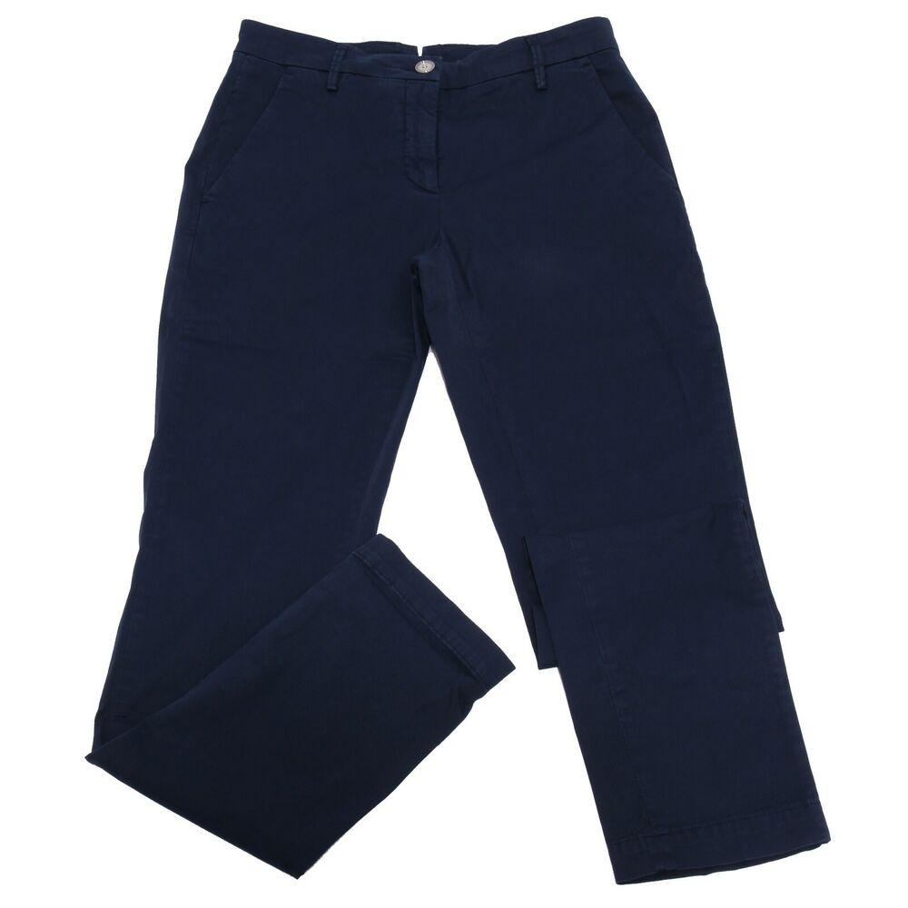 2037ab Pantalone Donna Siviglia Cotton Blue Garment Dyed Trouser Jeans Woman