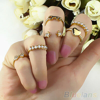 7PCS/SET TASTEFUL GOLD TONE BOW HEART CRYSTAL DIAMANTE MIDI BAND KNUCKLE RINGS