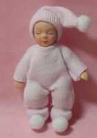 Dollhouse Miniature Doll Baby In Pink And White Porcelain Creations 1:12