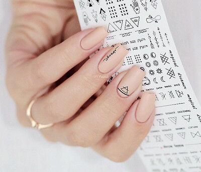 2Sheets Nail Water Decals Manicure Nail Art Transfer Stickers DIY Letter Design