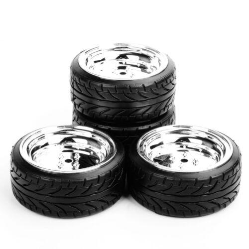 4pcs 12mm Hex Flat Drift Tires /& Wheel Rim For HPI HSP 1:10 RC On-Road Car