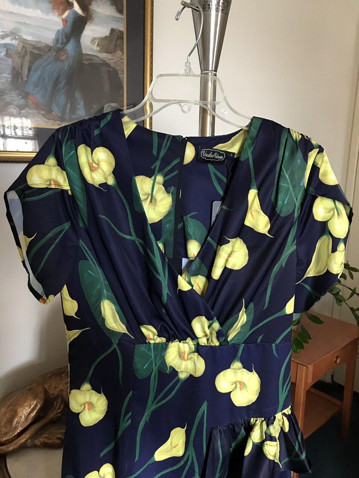 damen Voodoo Vixen schwarz & Gelb Floral Print Dress Größe Large NWT