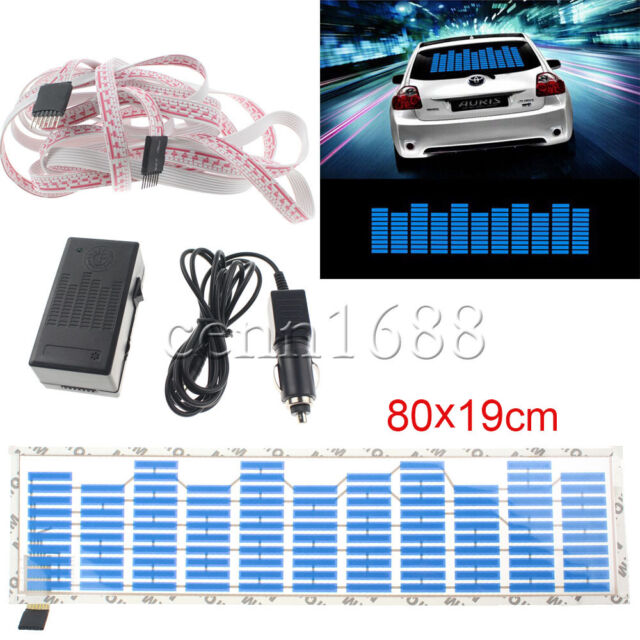 80x19cm Car Sticker Music Rhythm LED Flash Light Sound Activated Equalizer NEW