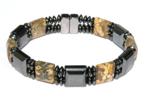 Leopardskin Jaspe Men/'s Double Magnétique circulation Bracelet Bracelet 2 rangs fermoir