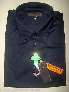 Fit In Cotone Camicia Made 100 Tipo's Italy Slim Uomo Colore Stretch Blu TCt1WqwW