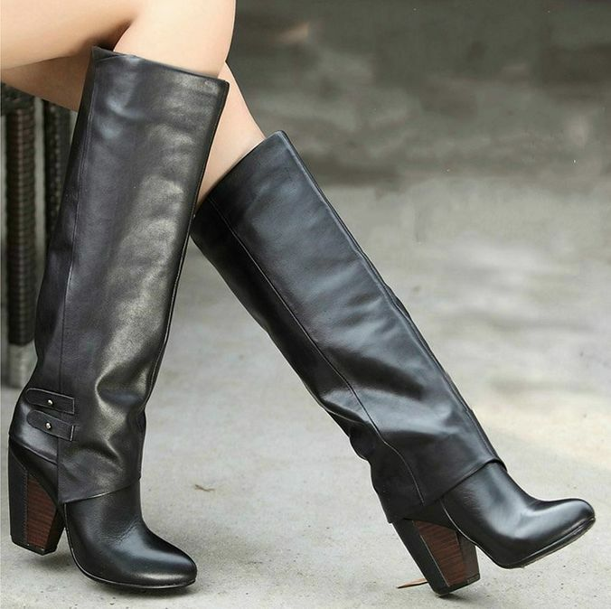 Womens Leather Knee High Boots Chunky heels Pull On Knight Fashion Party New