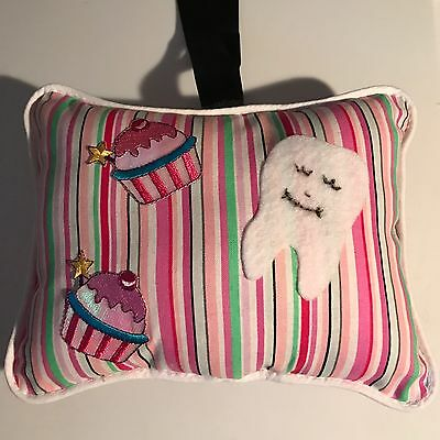 Candy Stripes With Cupcakes Tooth Fairy Pillow, Handmade