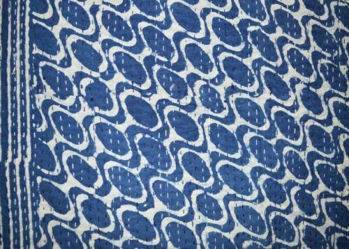Indian Kantha Quilt Bedspread Bedding Throw Cotton Blanket Blue Handmade Gudari