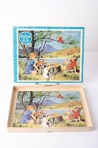 Vintage-Victory-Wood-JigSaw-Puzzle-Lake-Mountain-Scene-Picnic-Dog-England