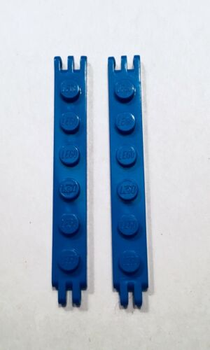 LEGO Blue 1x6 Hinge Plate With 2& 3 Fingers on End - Lot of 2 - 6991 Monorail