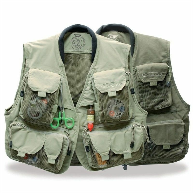 Vision  Caribou Vest Fly Vest Khaki All Sizes Game Fishing  comfortably