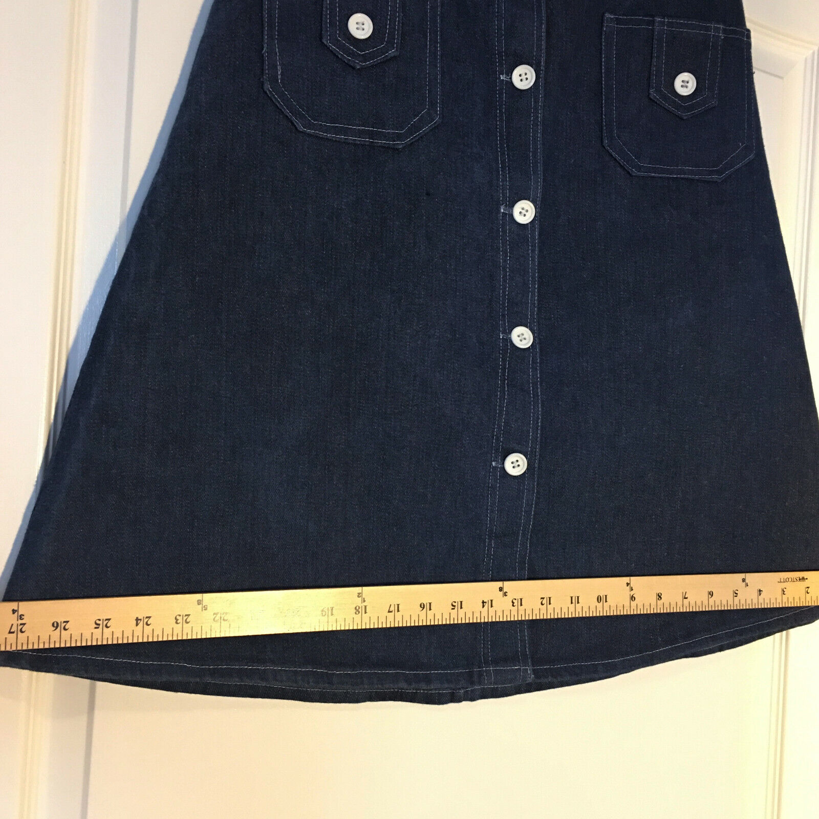 Peekaboo A-Line Vintage Inspired Denim Button Fro… - image 6