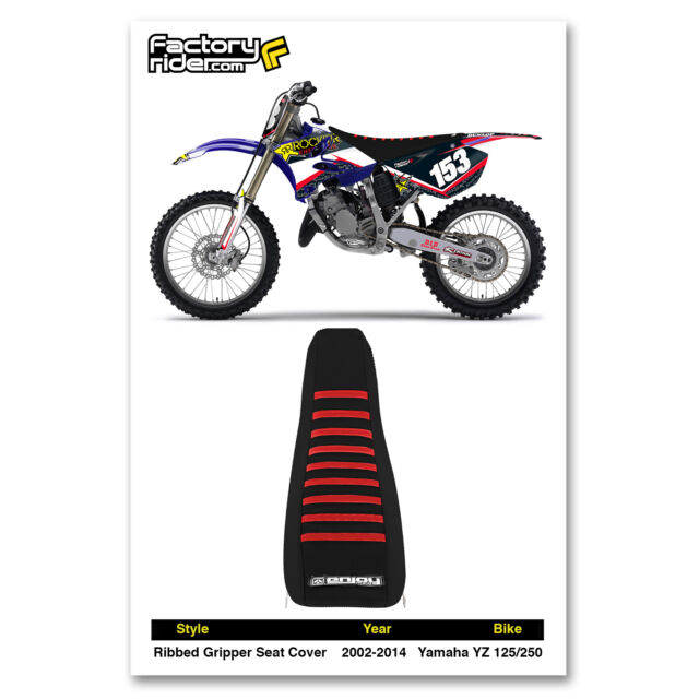2002-2018 YAMAHA YZ 125-250 Black with Red Ribs RIBBED SEAT COVER EnjoyMFG