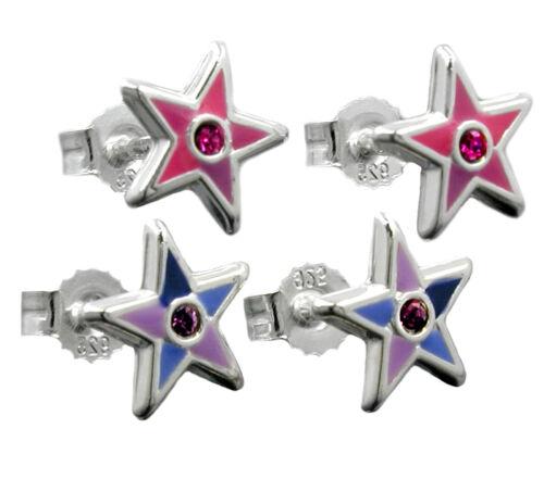 925 ECHT SILBER *** Stern Ohrstecker Ohrringe lila-blau oder pink-rosa 8 mm