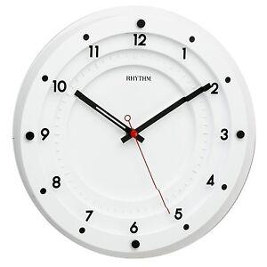 contemporain rythme horloge murale blanche avec mitoyenne fa ade en verre 30cm ebay. Black Bedroom Furniture Sets. Home Design Ideas