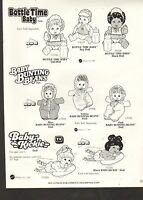 1985 Vintage Ad Sheet 1426 - Mattel Toys - Bottle Time Baby - Baby Kickie