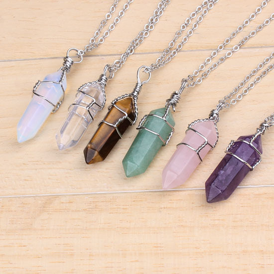 Silver Plated Stone Hexagon Winding Bead Healing Point Chakra Pendant Necklace
