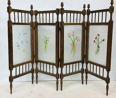 Vintage Chinese Four-panel Divider Screen Floral Designs 33'' X 22 1/4'' Special Buy Antiques