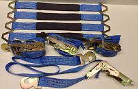 4 Axle Straps Car Hauler Trailer Auto Tie Down 4 Ratchet Straps Tow Kit Blue