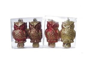 Christmas Holiday Tree Ornaments Decorations Xmas Owl Birds Glitter Red Gold NEW