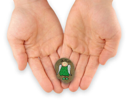 Glücksbringer Engel Handbemalt Schutzengel Stein Grün-Hellgrün