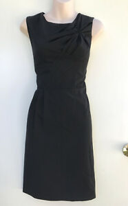 BASQUE-Lil-Black-Dress-with-Bodice-Detail-amp-Skirt-Side-Pleat-sz-10-NWT-Rrp-149