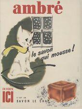 """""""SAVON LE CHAT AMBRE"""" Affiche originale entoilée Offset 1959  31x41cm"""