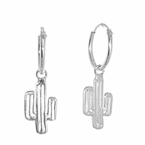 Quirky Sterling Silver Jewellery Small Cactus Charm Sleeper Hoop Earrings F...