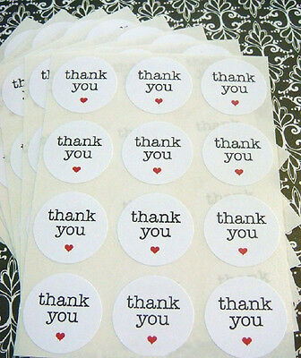 Thank you Stickers White Circular Self Adhesive Label Dia. 1.5 Inc x 600 Pcs