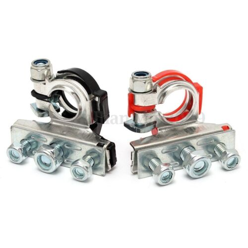 2* Car Motorhome Automotive Battery Terminal Clamp Connectors 3 Bolt On Durable