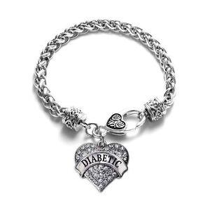 Diabetic-Bracelet-Medical-Alert-Heart-Crystal-Charm-Jewellery-Diabetes-Awareness