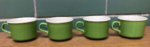 Vintage-USA-POTTERY-Coffee-Tea-Cups-Lime-Green-set-of-4