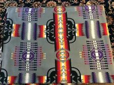 """Native American Indian Aztec Navajo fleece fabric on gray, 60"""" w, sold BTY"""