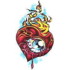 Bullseye Fresh Ink Realistic Temporary Tattoo, Eye in Heart w/ Flames, USA Made
