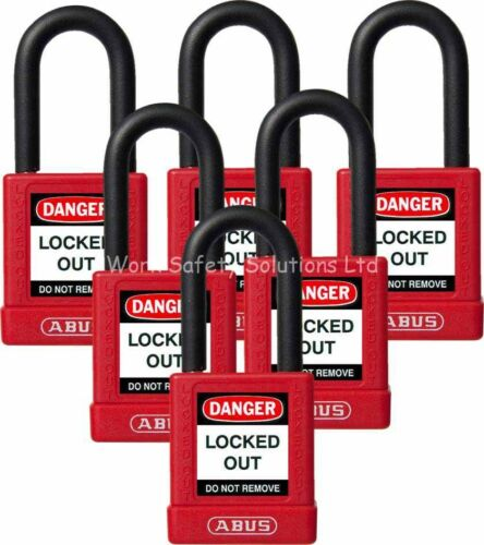 ABUS 74//40 Red Lock Out Safety Padlock  6 Pack Key Different