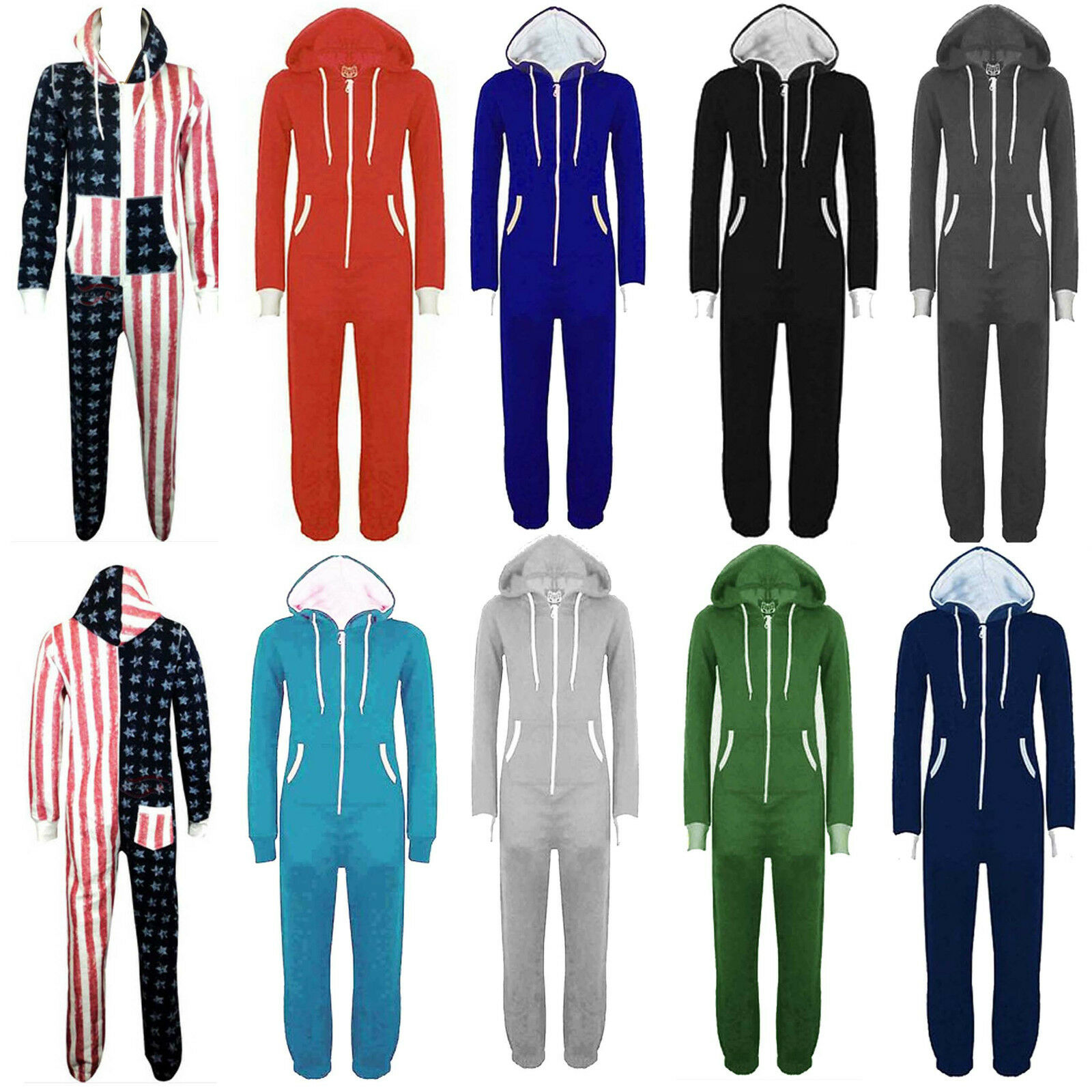 Plus Size Mens Womens Unisex Hooded  All In One Piece Jumpsuit 20 32-34