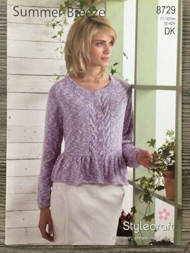 "DK Stylecraft Knitting Pattern: Ladies Peplum Cardigan 32-42/"" 8729"