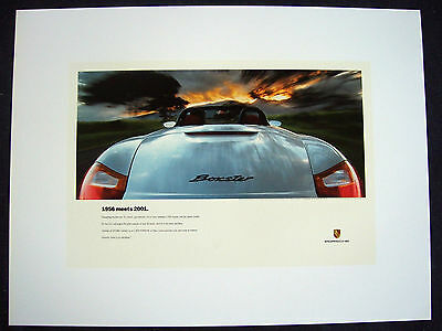PORSCHE OFFICIAL ORIGINAL 986 BOXSTER SHOWROOM '1956 MEETS 2001' POSTER 1997 USA