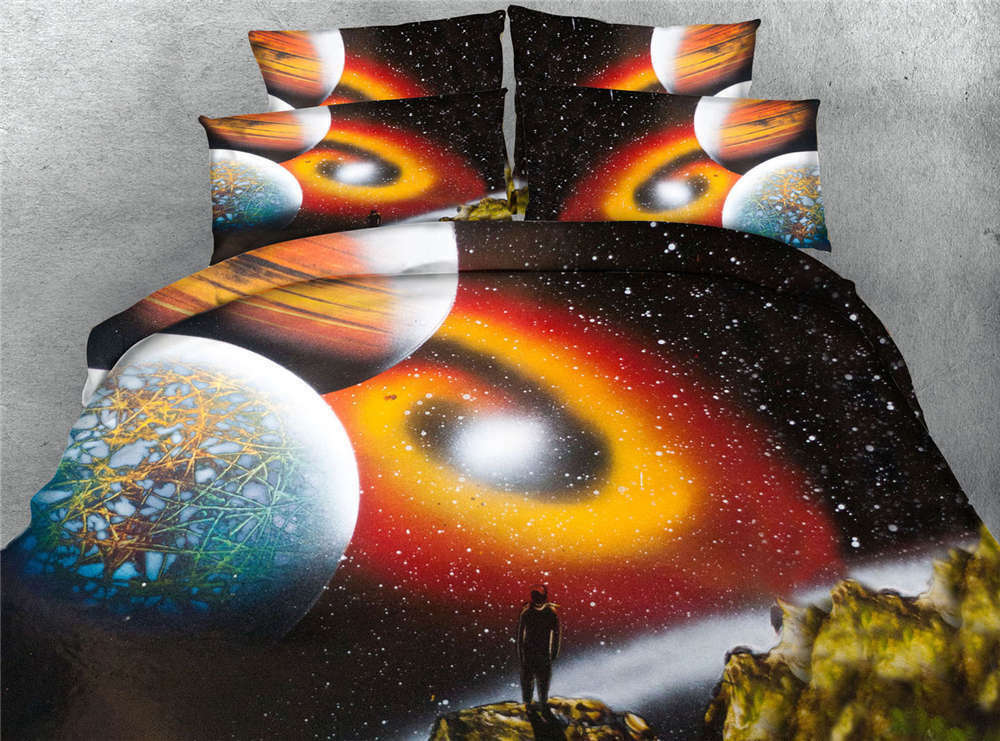 orange Starry Sky 3D Printing Duvet Quilt Doona Covers Pillow Case Bedding Sets