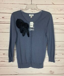 Loft-Women-039-s-S-Small-Blue-Gray-Floral-Button-Fall-Sweater-Cardigan-New-With-Tags