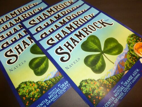 X10 WHOLESALE SHAMROCK ORANGE CRATE LABEL PLACENTIA IRISH LUCK 1930S NAVELS
