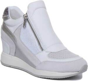 wholesale online amazing selection new lifestyle Details about Geox Nydame Women High Wedge Zip Suede Leather Trainer In  White Size UK 3 - 8
