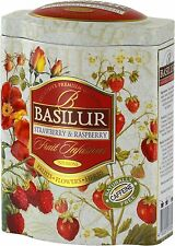 Basilur Fruit Infusions Strawberry and Raspberry 100g Ceylon Loose Leaf Tea Tin