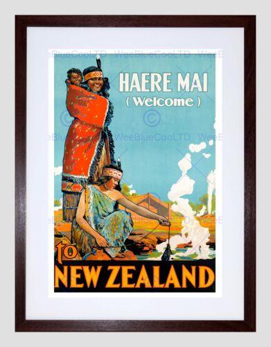 TRAVEL NEW ZEALAND NATIVE MAORI WELCOME COSTUME HOT SPRING FRAMED PRINT B12X6489